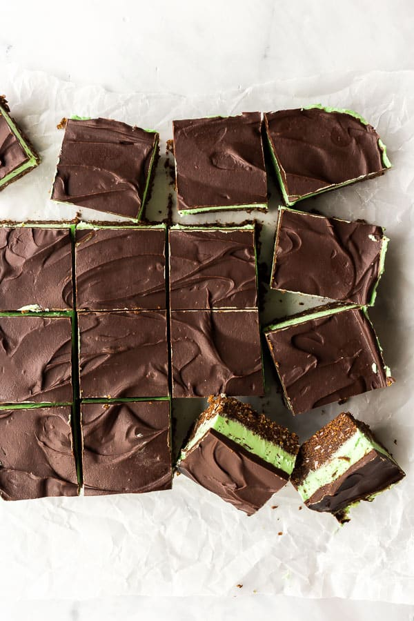 overhead image of mint chocolate bars cut into squares