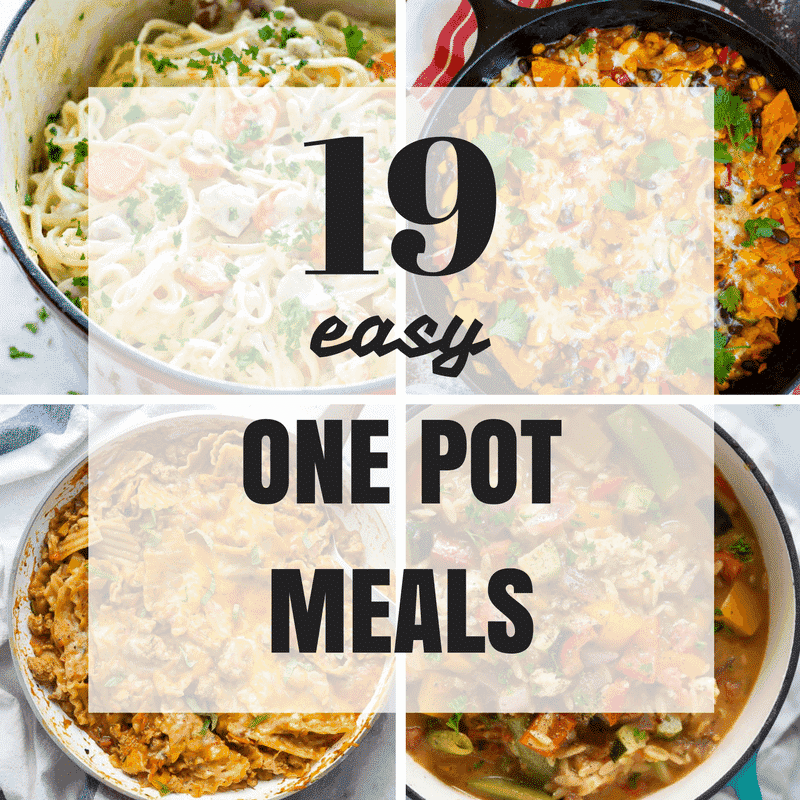 four image square collage of one pot meals with title