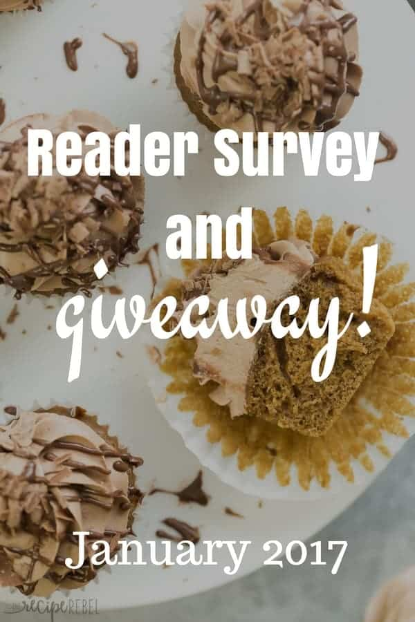 cupcake image with grey overlap and white title reading reader survey adn giveaway