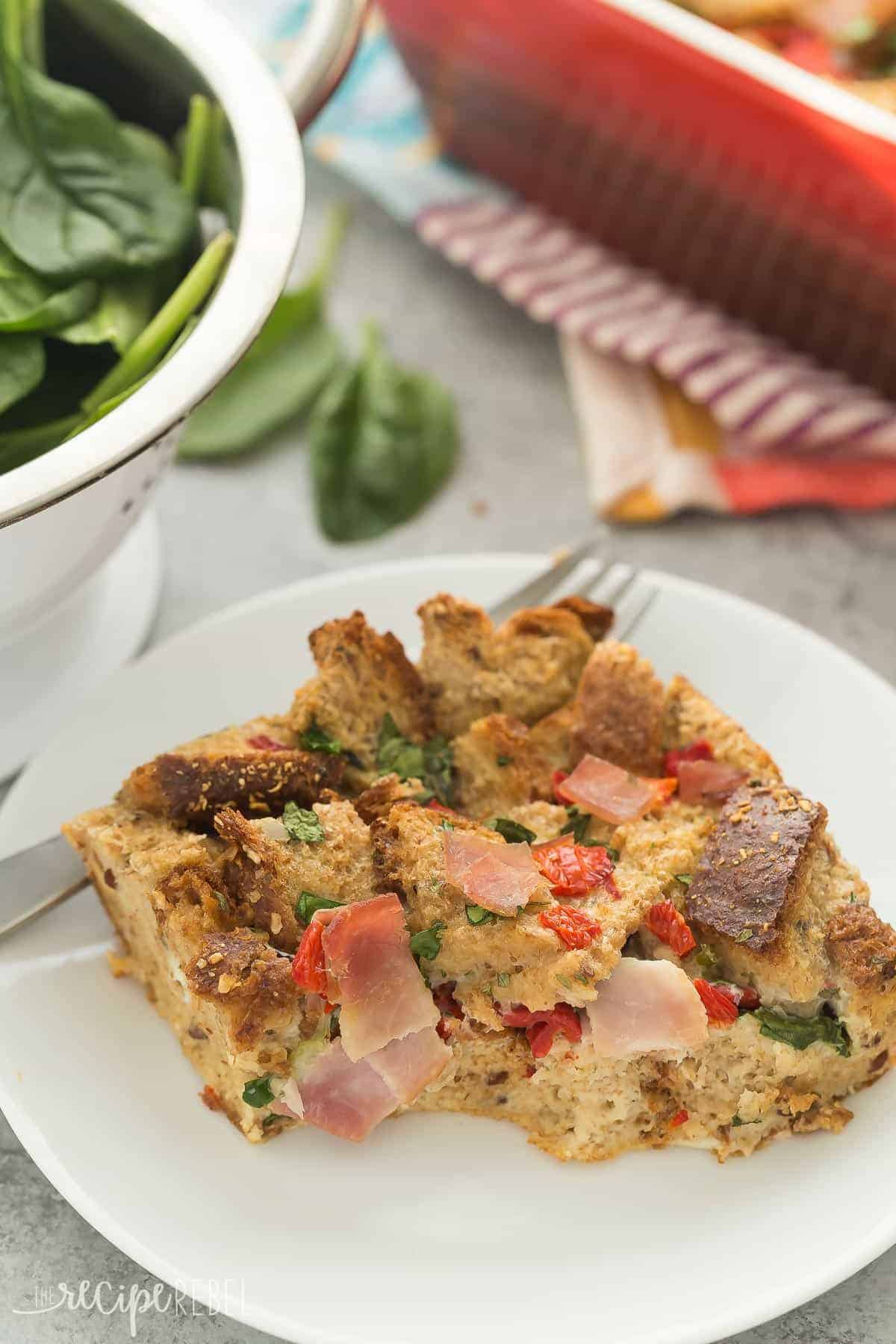 This Spinach and Ham Breakfast Casserole is a healthy, hearty breakfast, lunch or dinner packed with whole grains, eggs, ham, spinach and roasted red peppers! It can be made in a mug in the microwave or in a casserole dish in the oven -- perfect for one or a crowd!