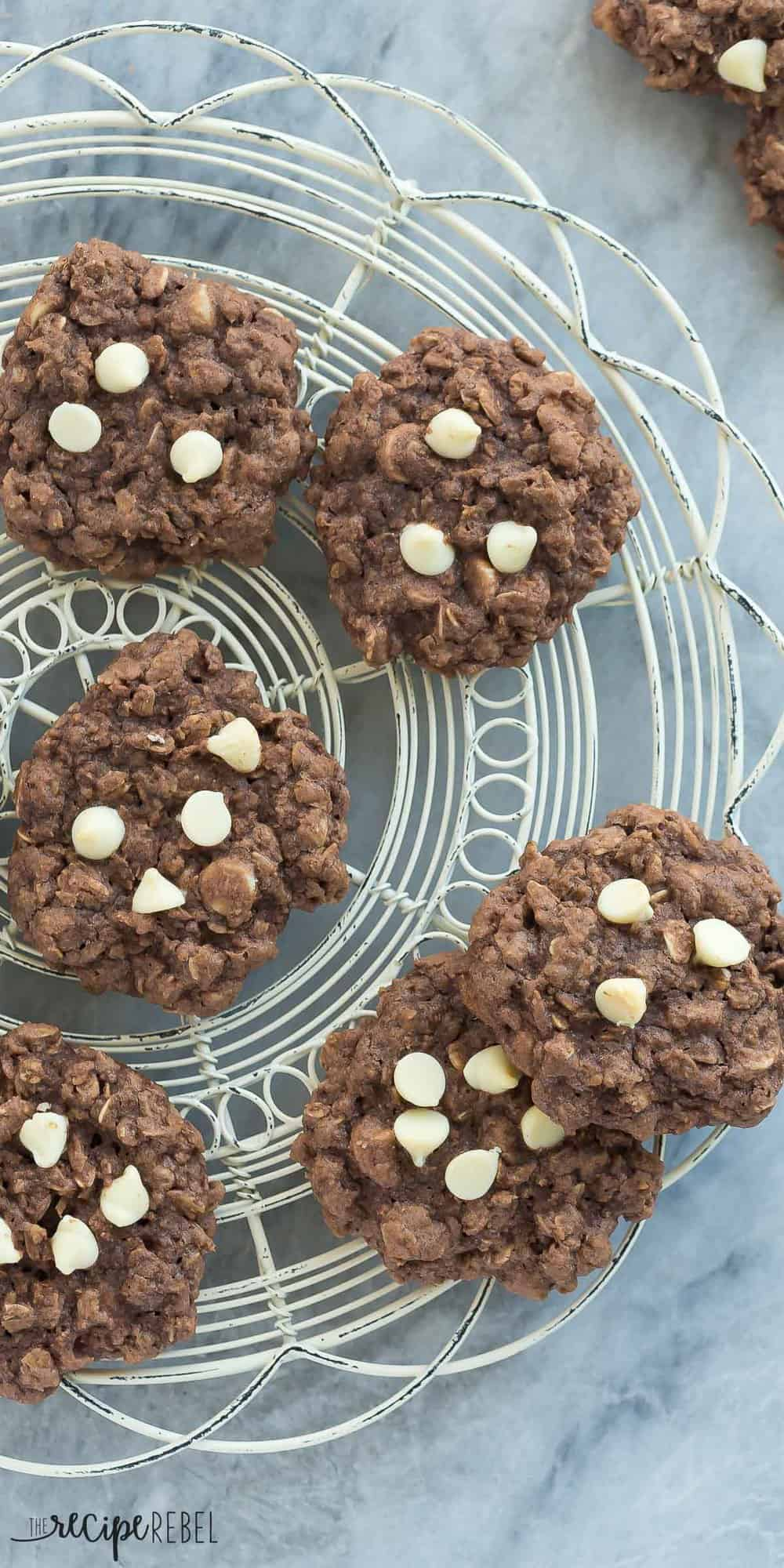 These Chewy Double Chocolate Oatmeal Cookies are chewy, chocolatey perfection! They are quick and easy to make and loaded with oats and white chocolate chips.