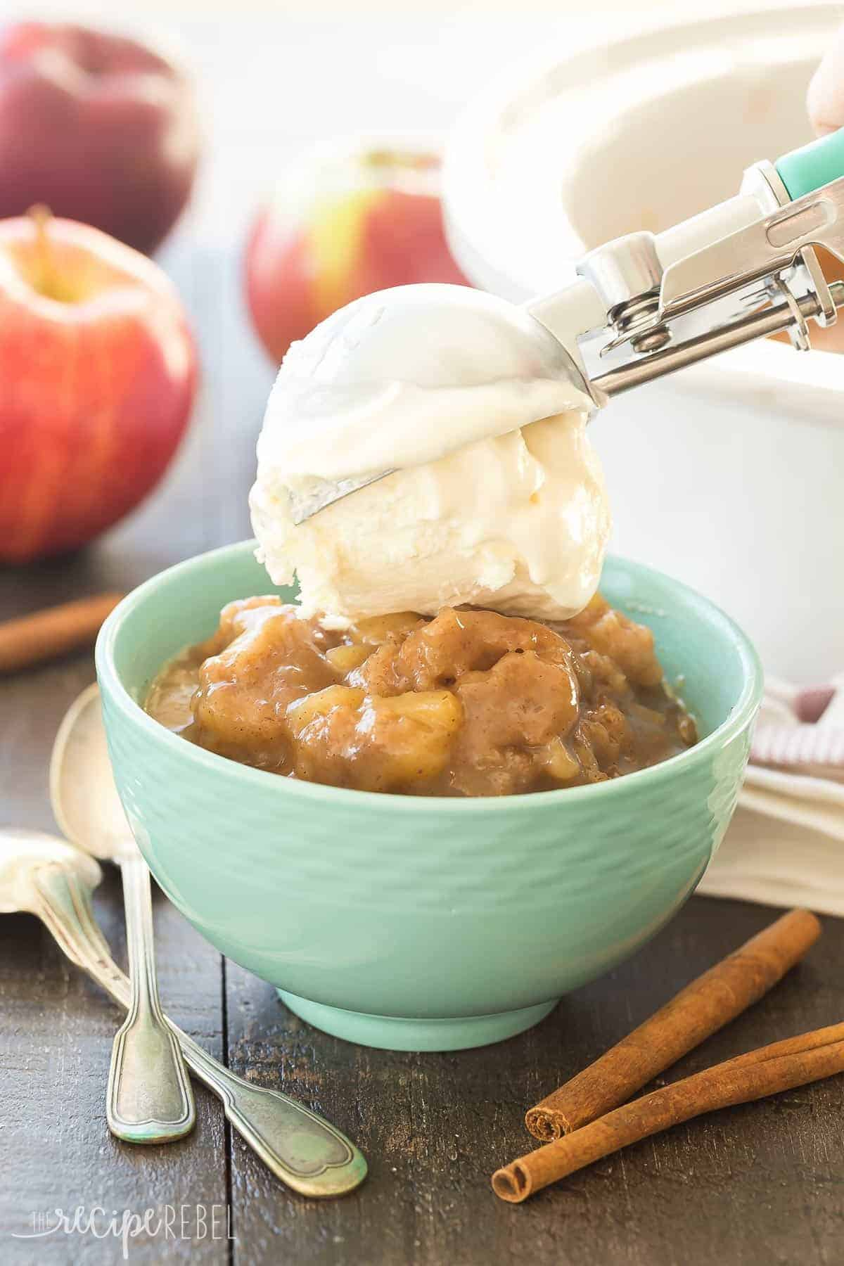 This Slow Cooker Caramel Apple Pudding Cake is SO simple, loaded with apples and makes its own hot caramel sauce as it cooks. Our new favorite dessert! crockpot dessert | slow cooker dessert | apple dessert | apple recipe | slow cooker recipe