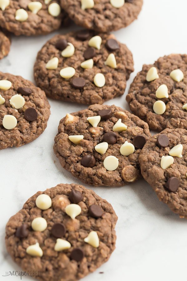 chocolate oatmeal cookies on table