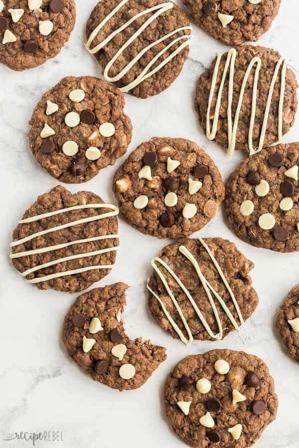 chocolate oatmeal cookies overhead