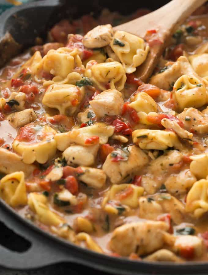 Italian Chicken Tortellini Skillet + RECIPE VIDEO