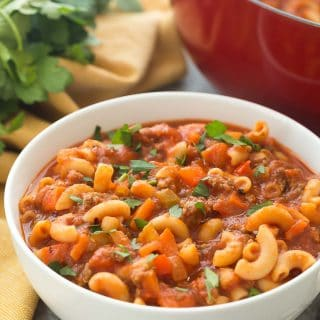 One Pot Beef and Tomato Macaroni Soup + RECIPE VIDEO