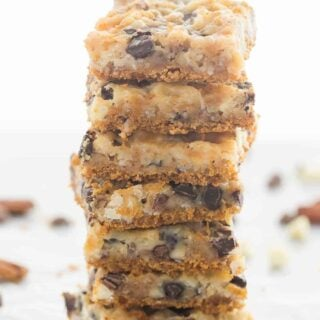These 7 Layer Magic Bars are made with a graham cracker base, chocolate chips, nuts, coconut and sweetened condensed milk – they are the perfect mix of gooey, crunchy, sweet and salty and they are so easy!