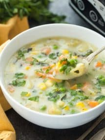 This Slow Cooker Creamy Vegetable Soup is a hearty, healthy meal in one -- made so easy with the crockpot! It's low in calories but BIG in flavor! Includes how to recipe video | crock pot recipe | crockpot | slow cooker recipe | easy recipe | healthy