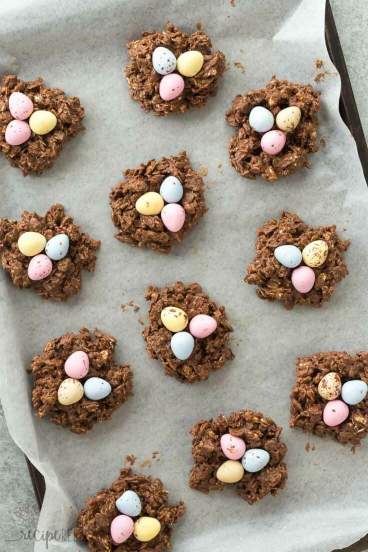 no bake birds nest cookies overhead on a sheet pan lined with parchment paper