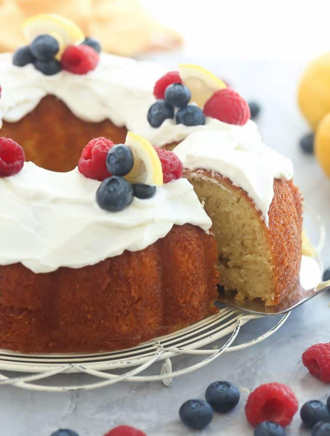 Greek Yogurt Lemon Bundt Cake + RECIPE VIDEO
