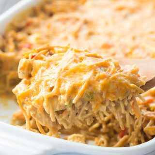 Healthier Creamy Chicken Spaghetti Bake + RECIPE VIDEO