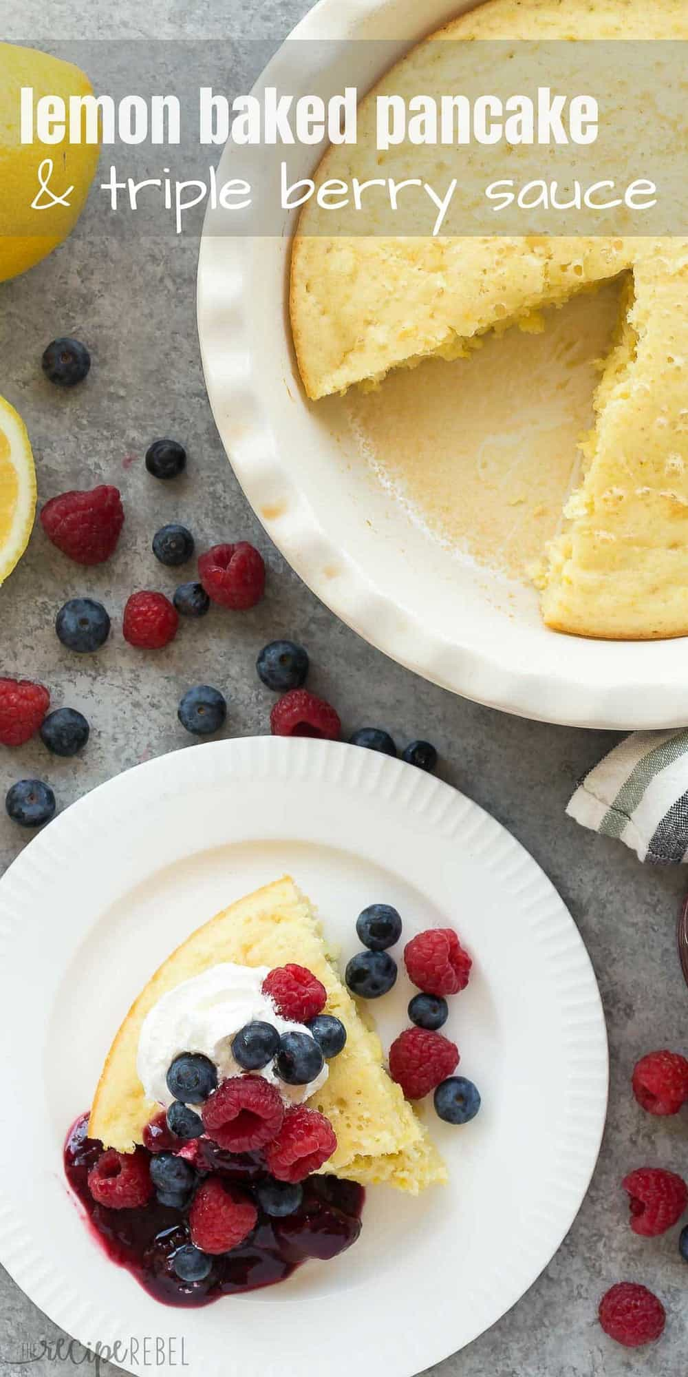 This easy Lemon Baked Pancake with Triple Berry Sauce is perfect for serving the brunch crowd at Mother's Day, Easter or Christmas -- no flipping required! My favorite way to make pancakes! Includes step by step recipe video. | baked pancakes | easy breakfast | holiday brunch | healthy recipe