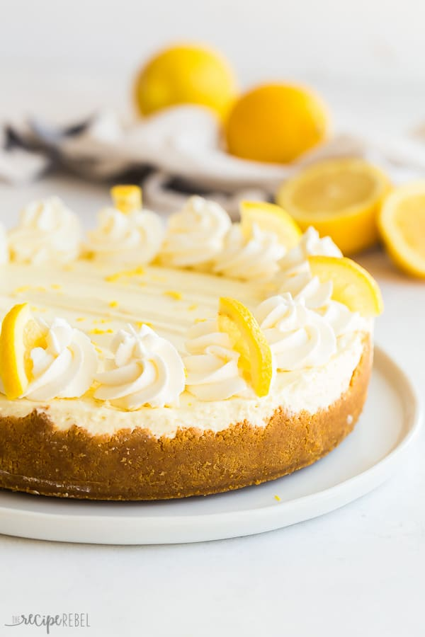 no bake lemon cheesecake whole