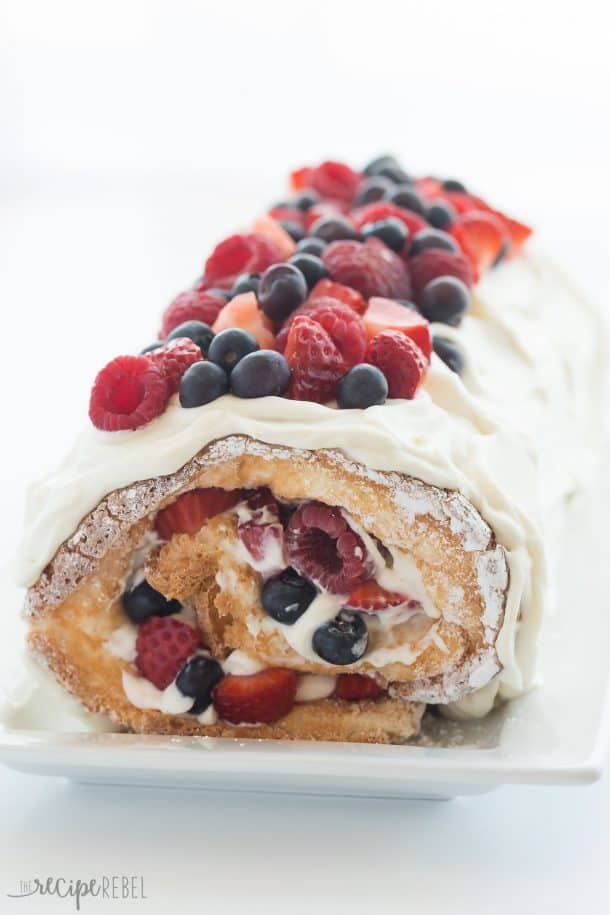 Berry Angel Food Cake Roll Red White And Blue Dessert