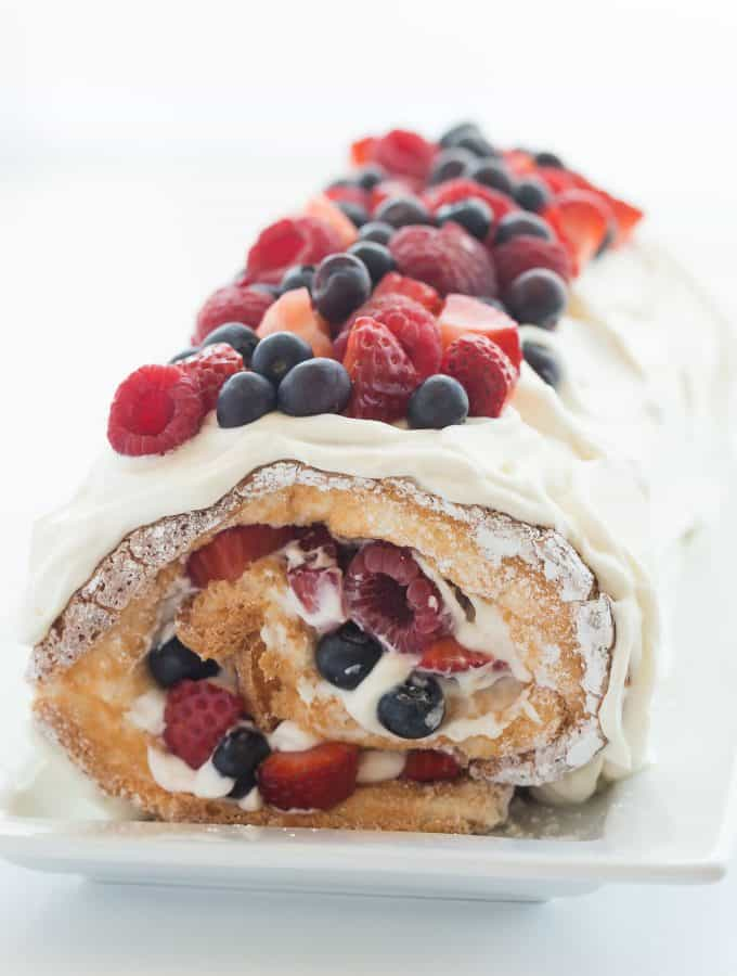 Triple Berry Angel Food Cake Roll (a Red, White and Blue dessert) + VIDEO