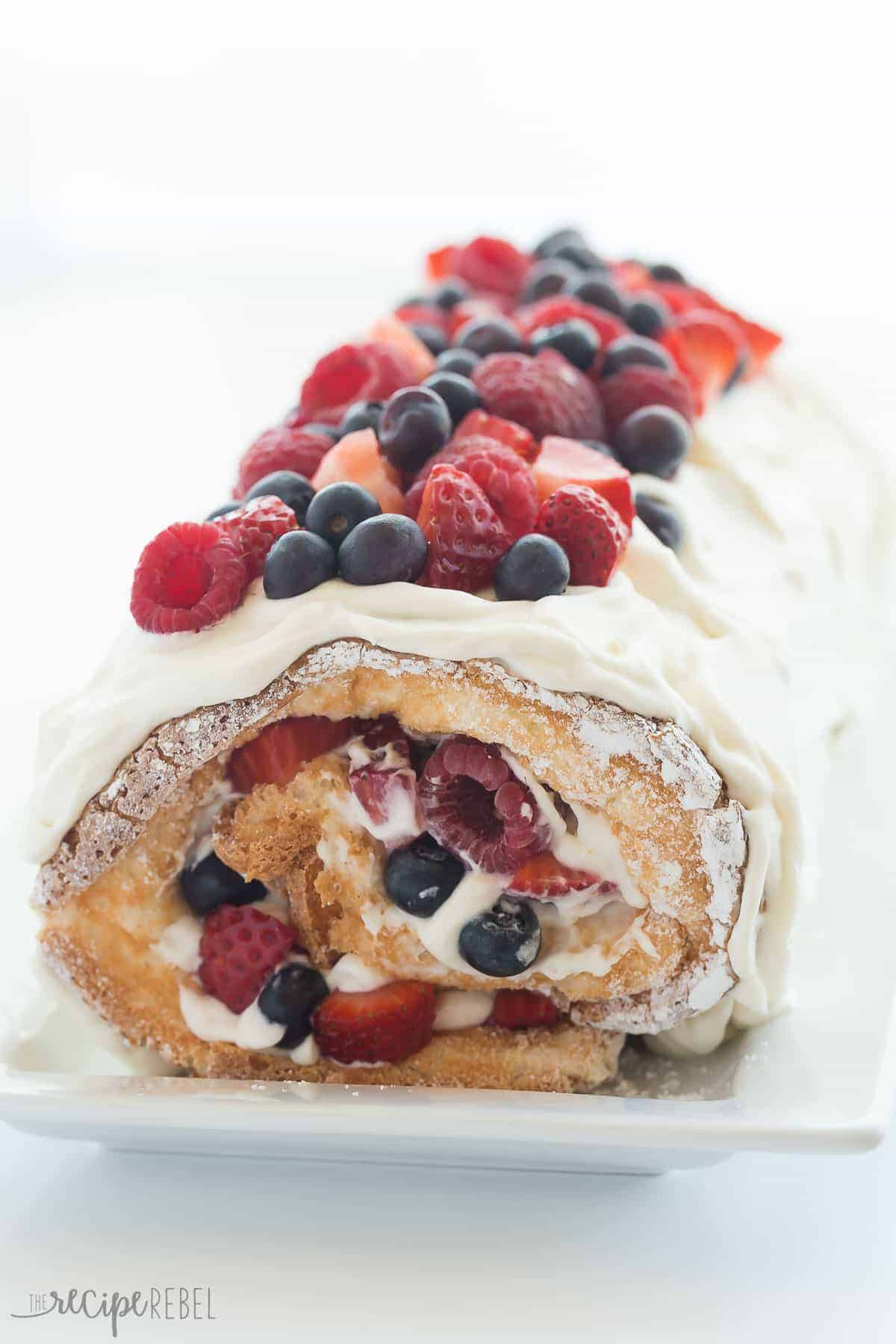 Berry angel food cake roll red white and blue dessert this triple berry angel food cake roll is an easy red white and blue dessert forumfinder Images