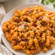 one pot bbq chicken pasta on plate