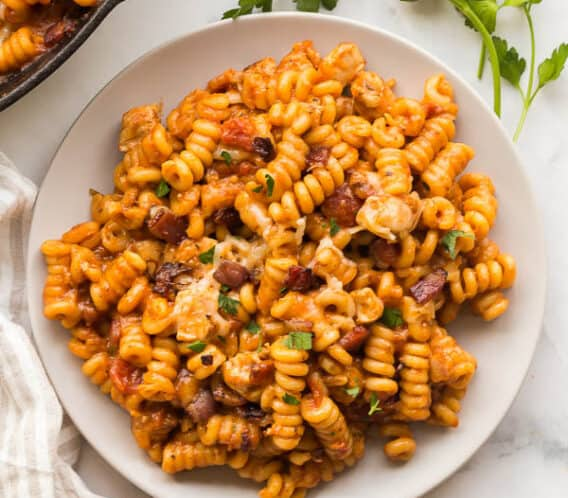 overhead barbecue chicken pasta plate