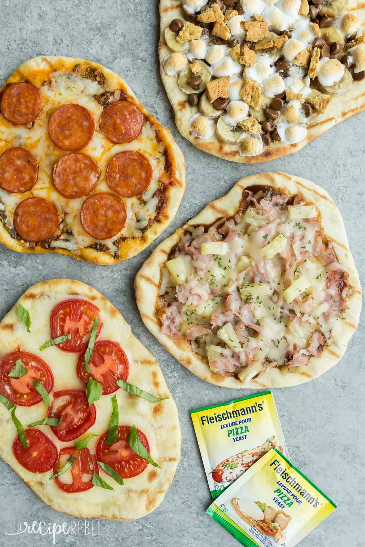 four flavors of grilled pizza on grey background with two packages of fleischmann's pizza yeast