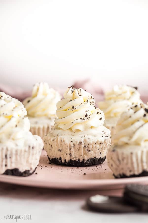 Oreo ice cream cupcakes on a pink plate on a white background