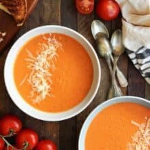 This Easy Roasted Tomato Soup is MUCH better than the can and couldn't be simpler -- perfect for fresh garden tomatoes and herbs! A healthy gluten-free and vegetarian meal with dairy free and vegan options. | soup recipe | healthy recipe | dinner | easy recipe