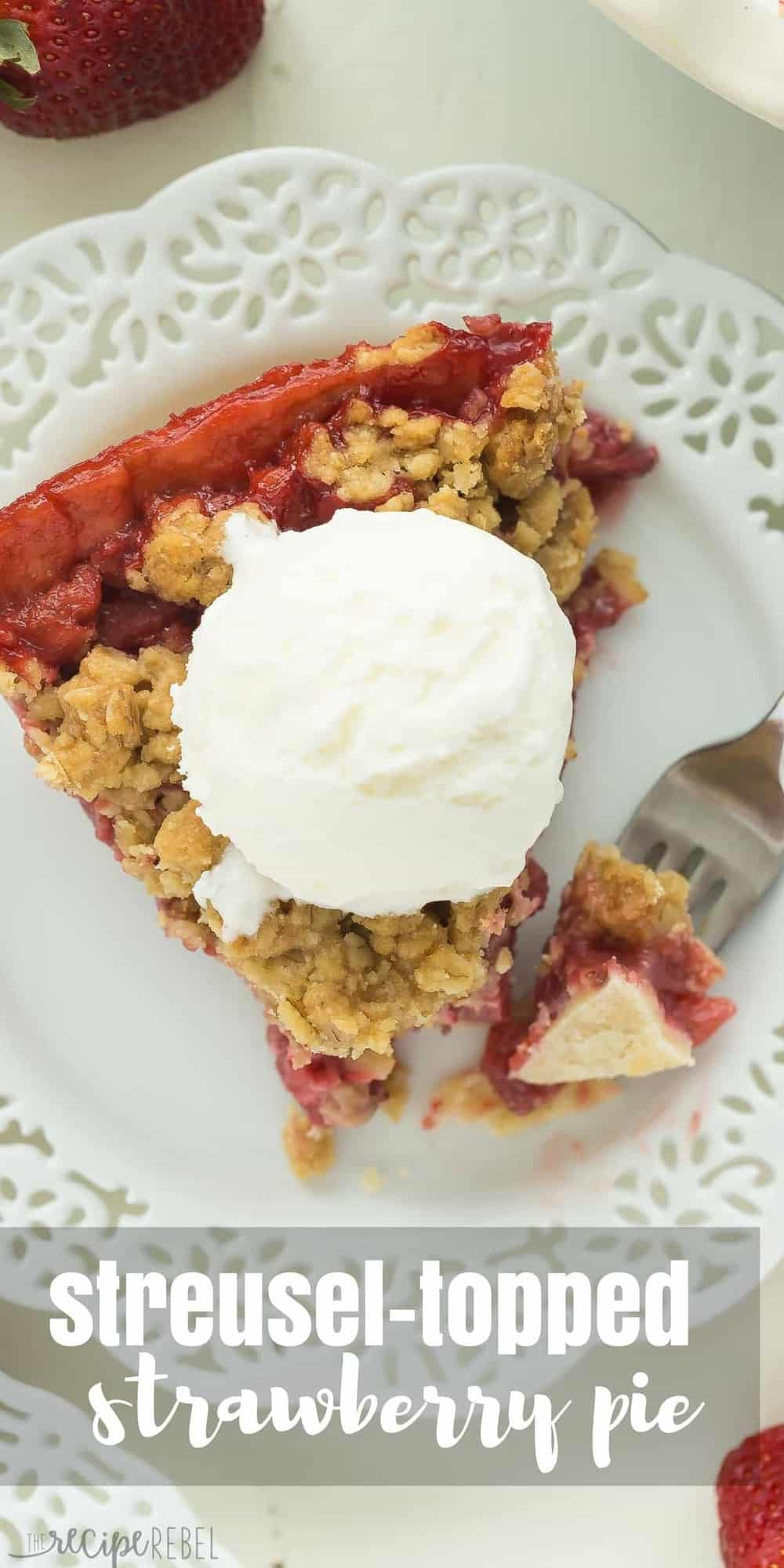 long overhead image of slice of strawberry pie on white plate with title