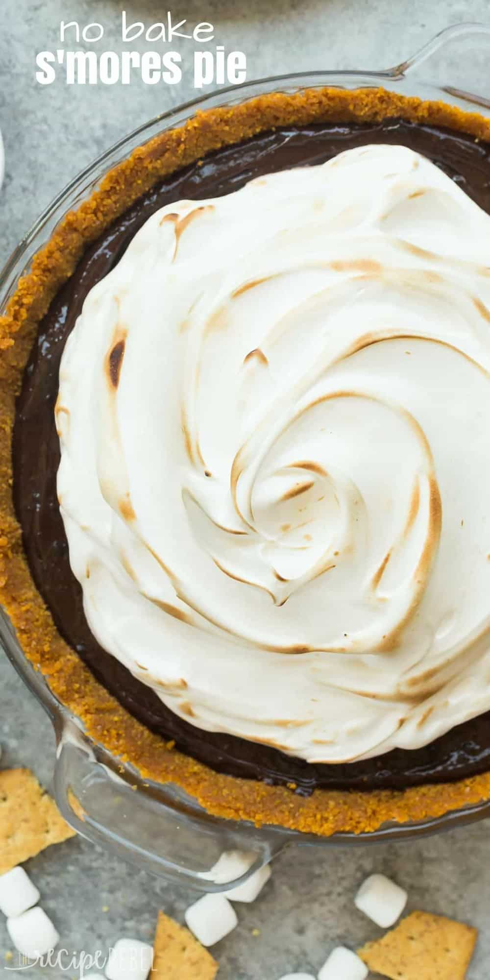 long overhead image of no bake smores pie with toasted marshmallow cream