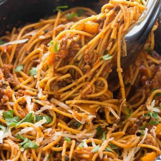Healthier Slow Cooker Spaghetti and Meat Sauce + VIDEO