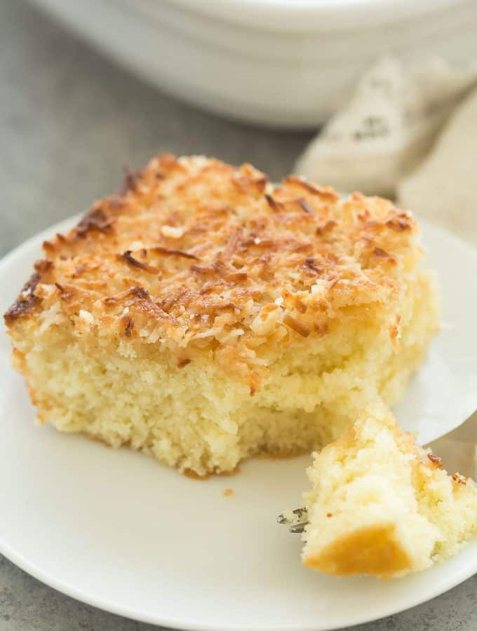 Hot Milk Cake with Broiled Coconut Frosting + VIDEO (Lazy Daisy Cake)