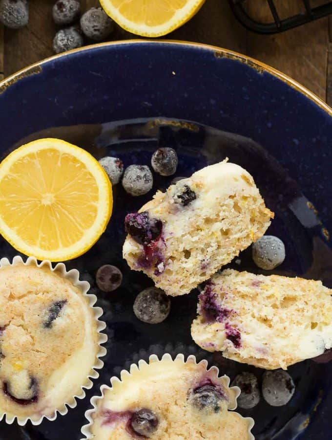 Blueberry Lemon Muffins with Cream Cheese Swirl + VIDEO