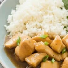 This Slow Cooker Honey Lemon Chicken is a little sweet, a little tangy and perfect over rice or noodles! It's an easy crockpot meal for those busy days! Includes step by step recipe video.   crockpot dinner   crockpot recipe   crock pot   slow cooker recipe   easy dinner   healthy dinner   low calorie   healthy diet