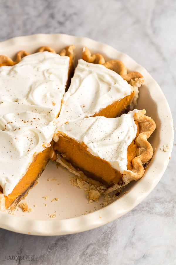 two slices of turtle pumpkin pie cut in pan