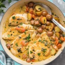 tuscan chicken and potato skillet overhead