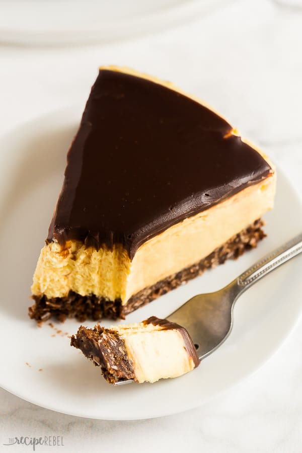 no bake nanaimo bar cheesecake slice on white plate with bite on fork