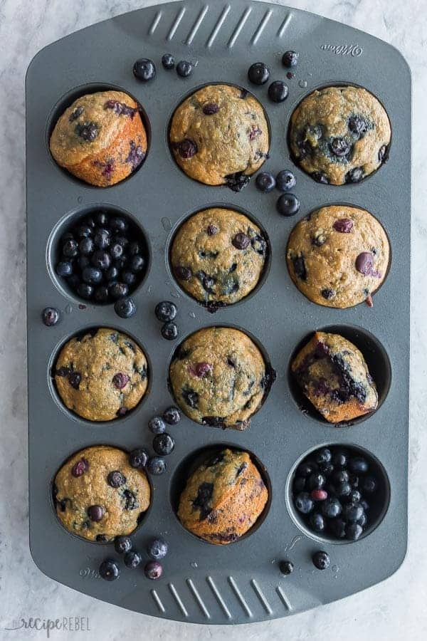 blueberry oatmeal muffins in pan