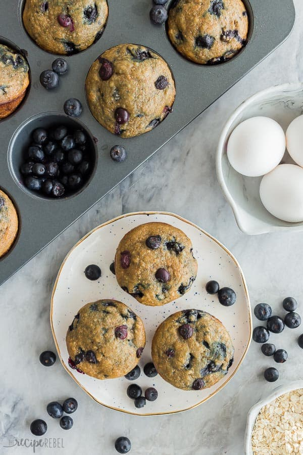 blueberry oatmeal muffins overhead on plate