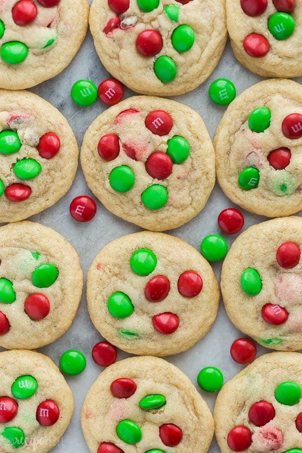 christmas m&m cookies overhead close together and close up with m&ms in between cookies