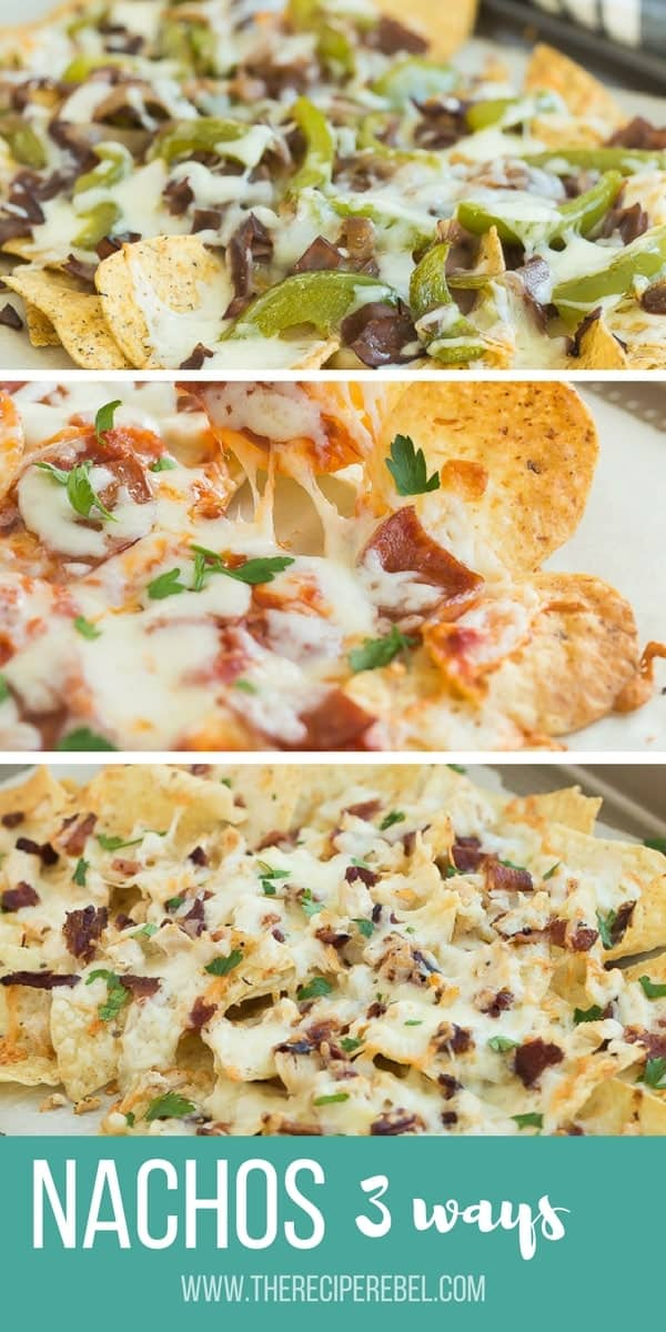 collage of 3 images with 3 different types of nachos