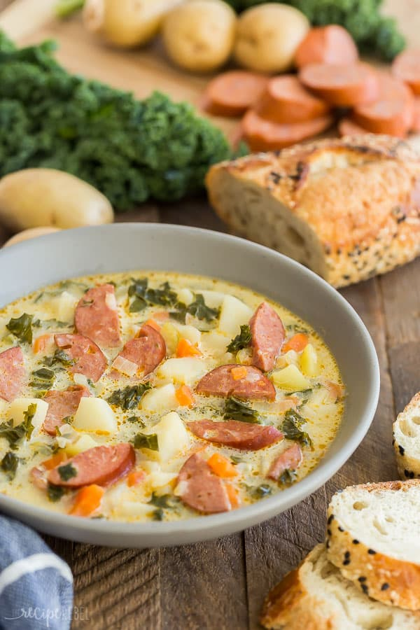 potato sausage soup with kale in bowl