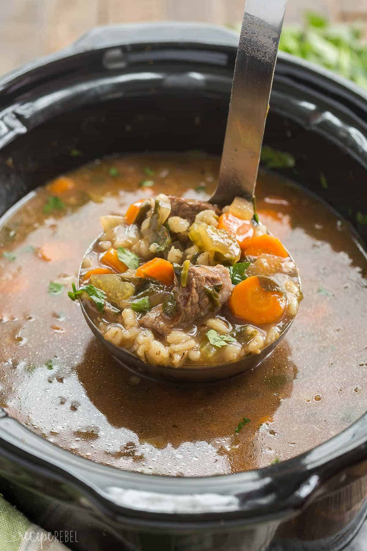 This Slow Cooker Beef Barley Soup is an easy crockpot meal perfect for fall or winter! Loaded with vegetables and tender chunks of beef. Includes step by step recipe video. | slow cooker recipe | crockpot recipe | beef stew | healthy dinner recipe | low calorie | high protein | #slowcooker #crockpot #slowcookerrecipe