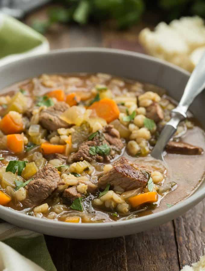 Slow Cooker Beef Barley Soup Recipe + VIDEO