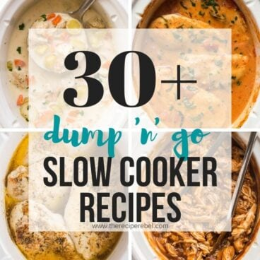 square collage image for dump slow cooker recipes with title