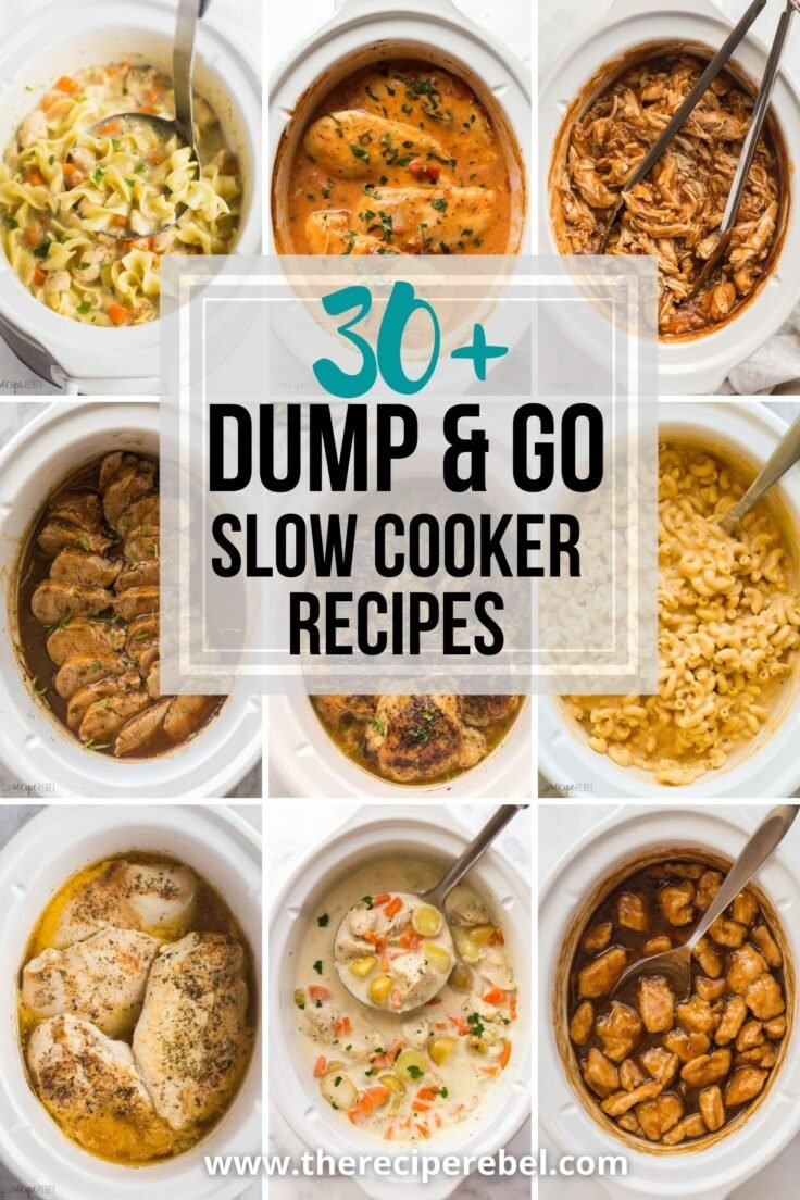 collage with nine slow cooker recipe images and dump and go slow cooker recipes title overlaid
