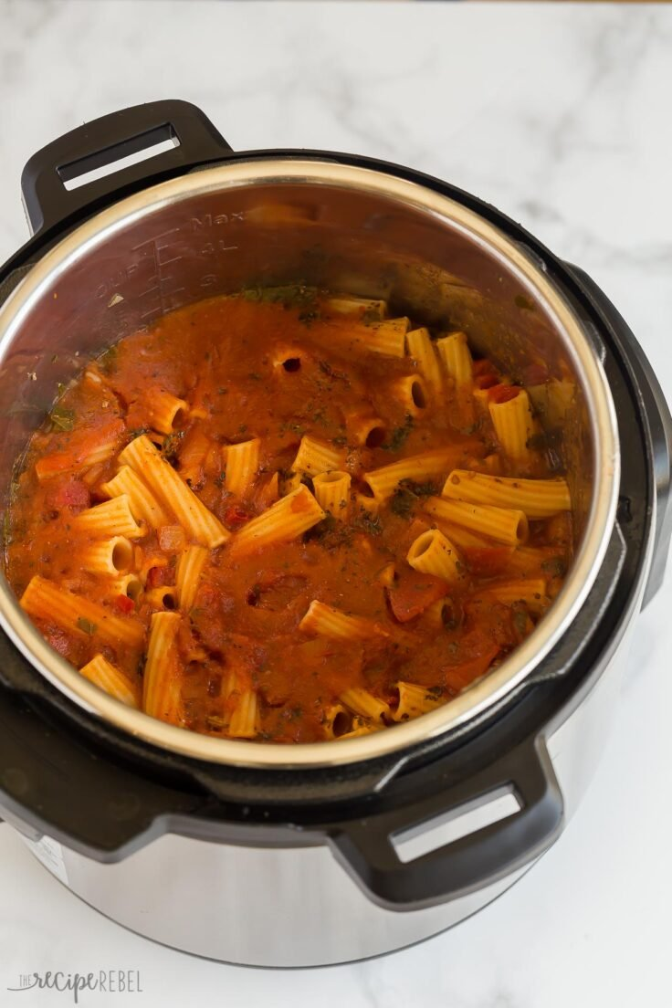 cooked instant pot baked ziti before stirring noodles