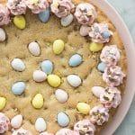 easter mini egg cookie cake whole on plate overhead