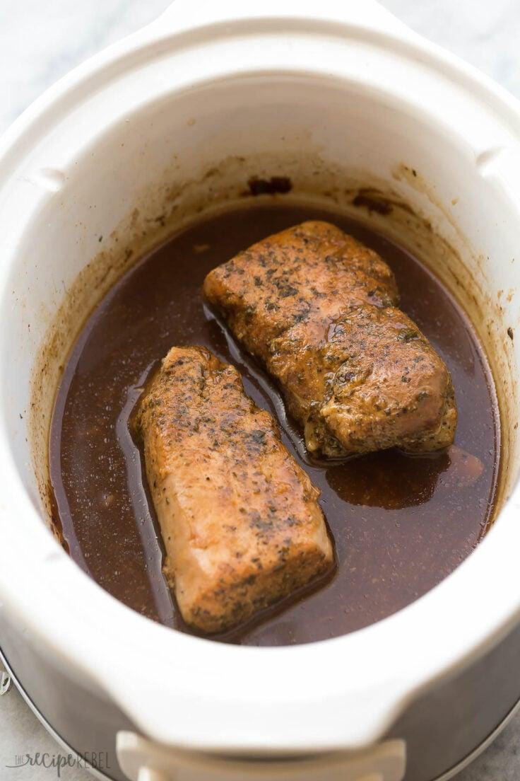 pork tenderloin in slow cooker cut in half