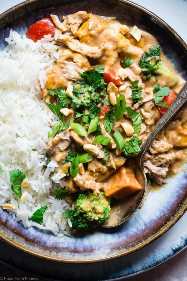 crockpot thai peanut butter chicken curry overhead close up image with rice
