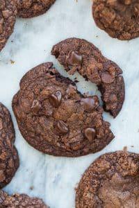 double chocolate chip cookie broken