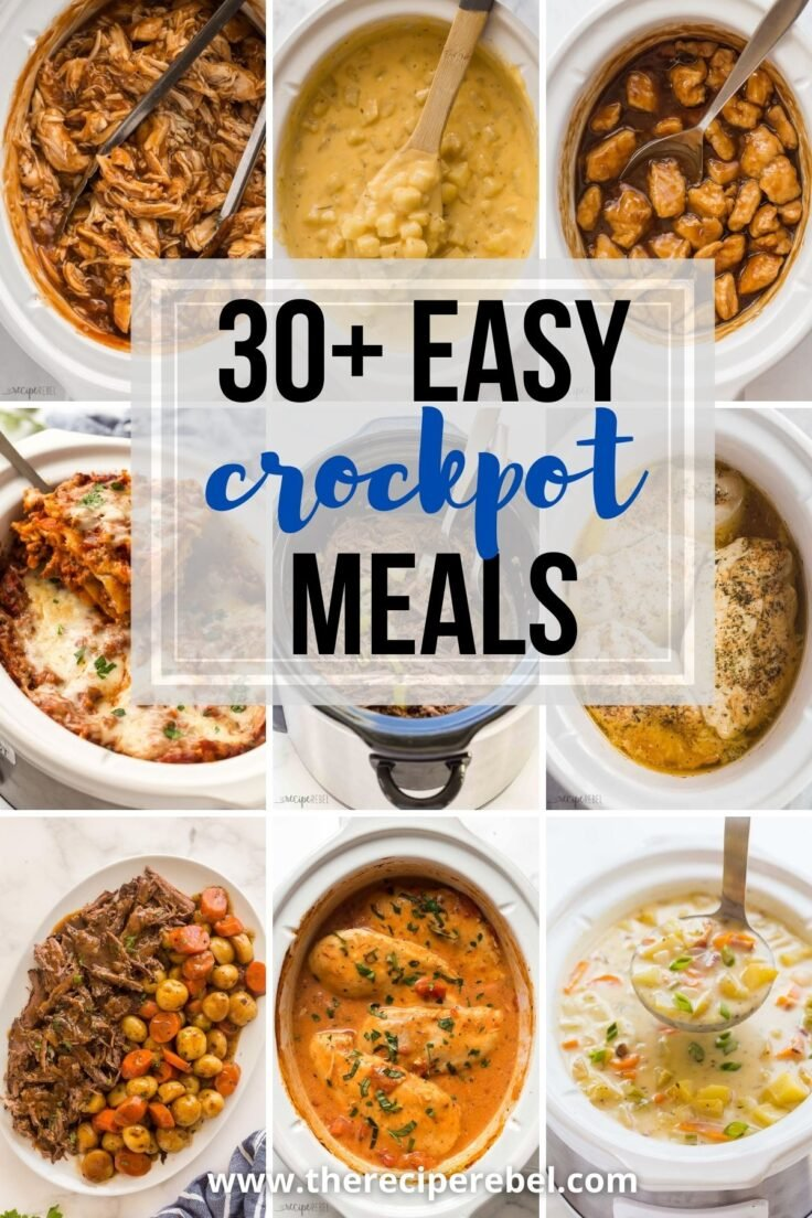 collage image with different slow cooker recipes for easy crockpot meals round up