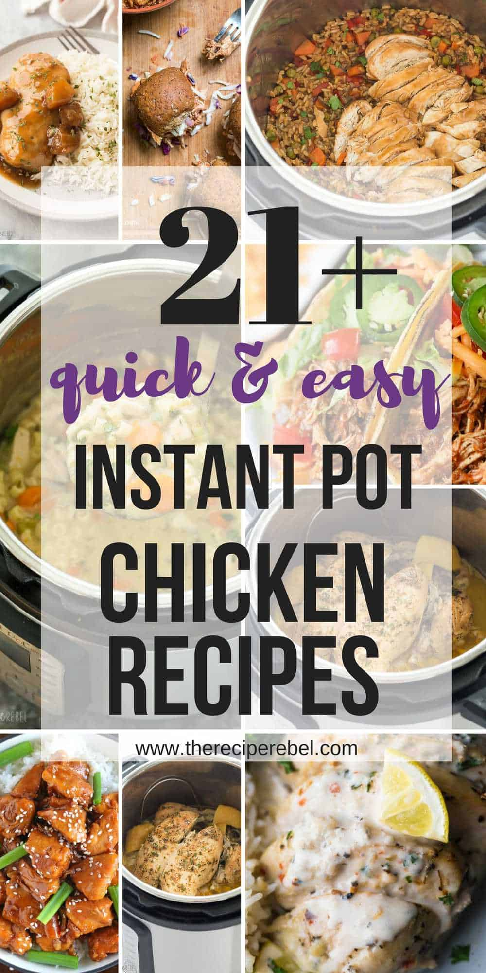 These easy Instant Pot Chicken Recipes come together SO quickly, you can have a homemade dinner in no time! From Instant Pot whole chickens to chicken breasts to chicken thighs, there's something for everyone. Chicken tacos, chicken soups, and one pot meals! #instantpot #instantpotrecipes #pressurecooker #chicken #chickenrecipe #dinner